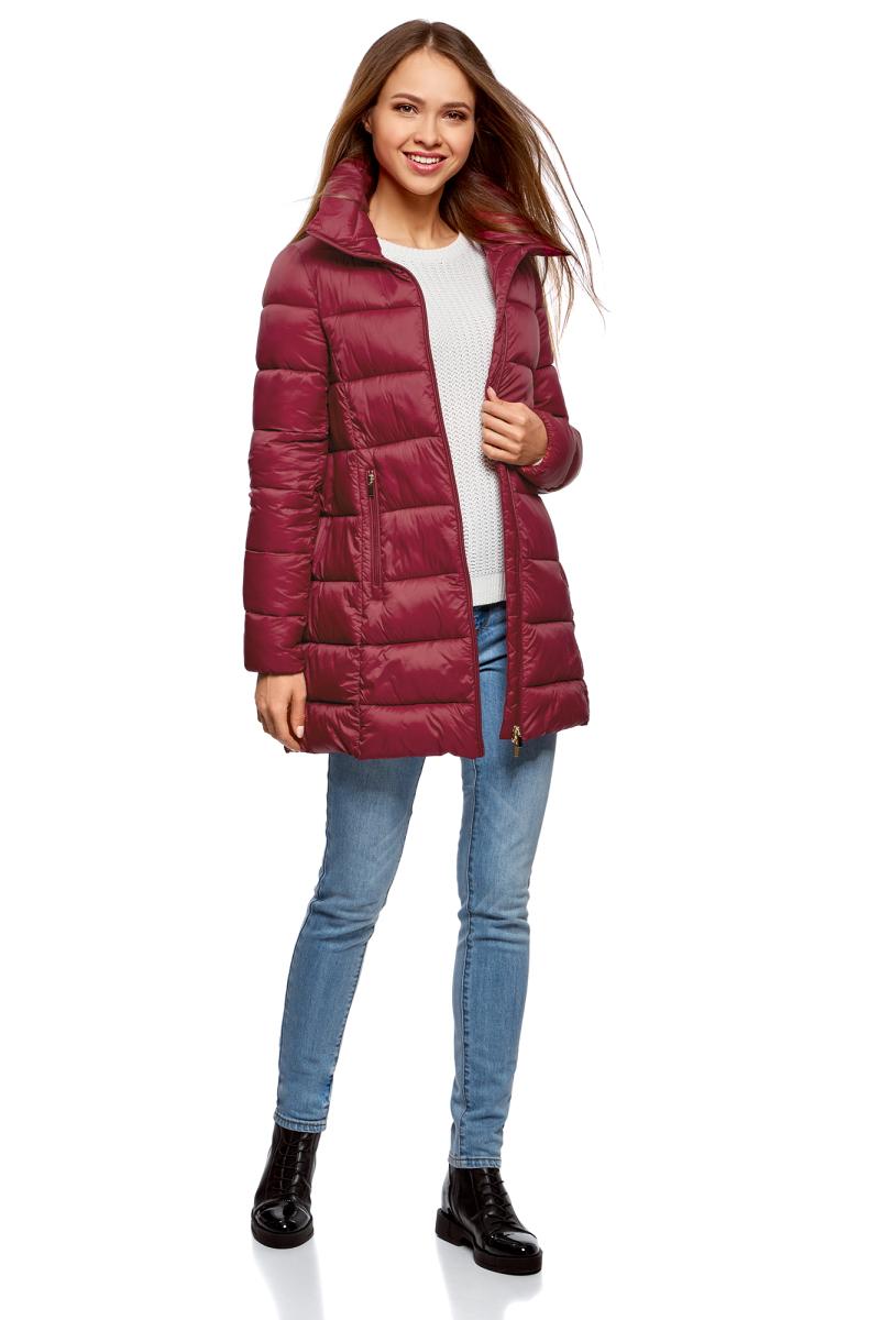 Куртка жен oodji Ultra, цвет: бордовый. 10203055/45638/4900N. Размер 36-170 (42-170)10203055/45638/4900N