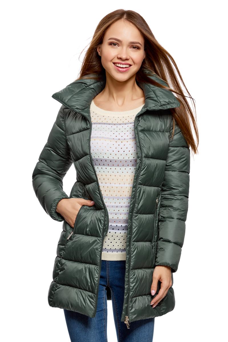 Куртка жен oodji Ultra, цвет: темно-изумрудный. 10203055/45638/6E00N. Размер 36-170 (42-170)10203055/45638/6E00N