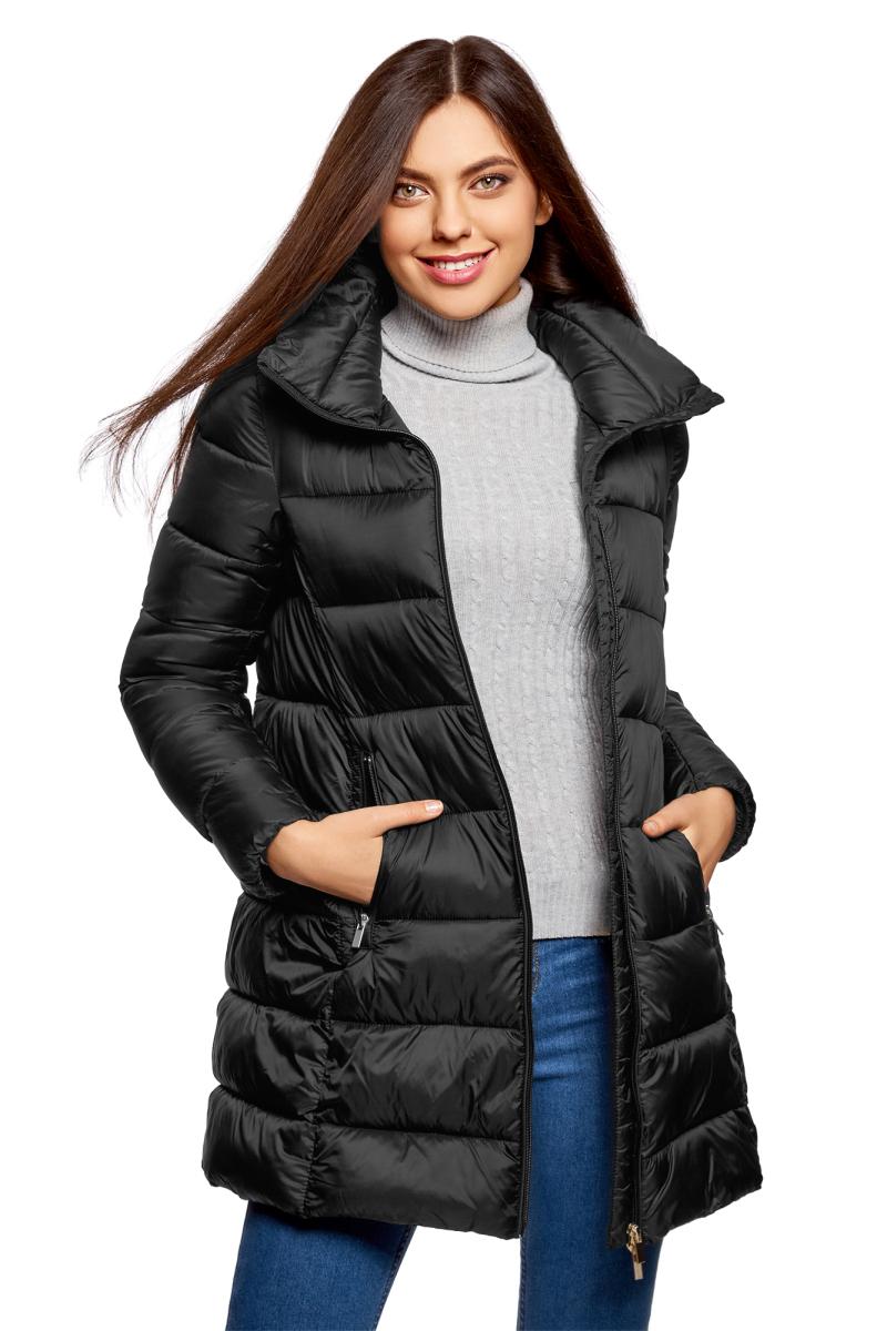 Куртка жен oodji Ultra, цвет: черный. 10203055/45638/2900N. Размер 38-170 (44-170)10203055/45638/2900N