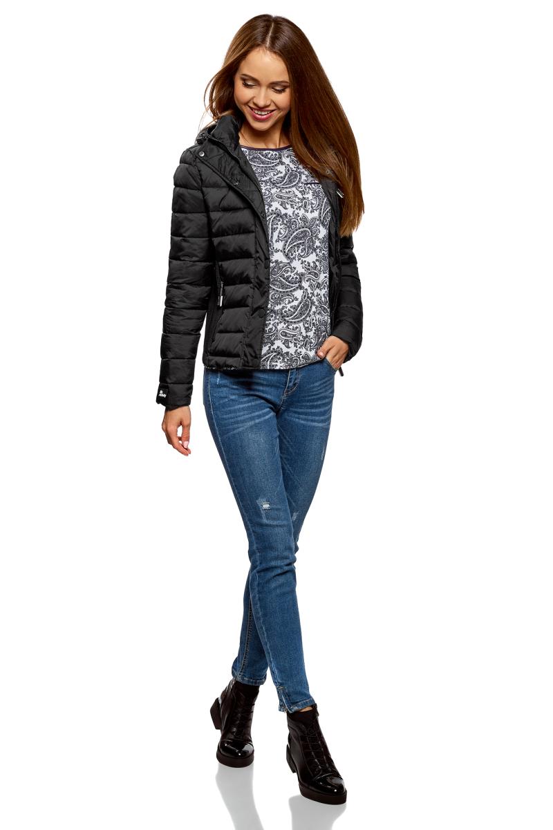 Куртка жен oodji Ultra, цвет: черный. 10204053/47173/2900N. Размер 38-170 (44-170)10204053/47173/2900N