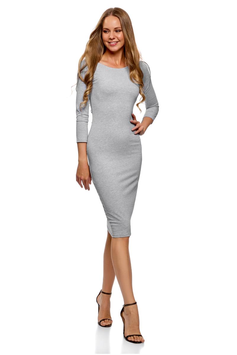 Платье oodji Ultra, цвет: серый, темно-синий, 2 шт. 14017001T2/47420/19J1N. Размер L (48)14017001T2/47420/19J1NСтильное платье oodji изготовлено из качественного смесового материала. Облегающая модель с горловиной-лодочкой и рукавами 3/4. В наборе 2 платья.