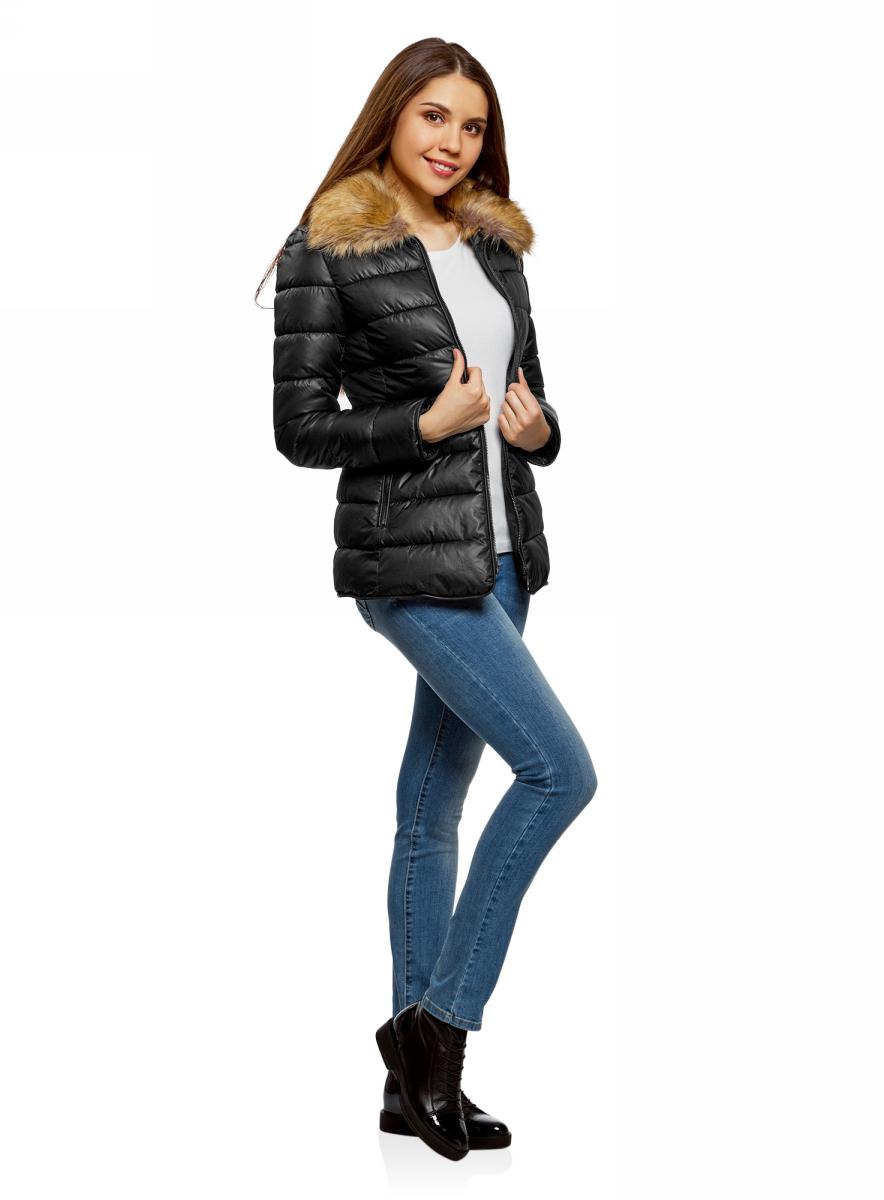 Куртка жен oodji Collection, цвет: черный. 20204041-4/24176/2900N. Размер 44-170 (50-170)20204041-4/24176/2900N