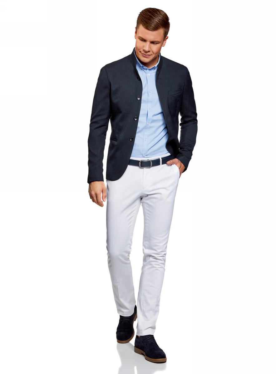 Пиджак мужской oodji Lab, цвет: темно-синий. 2L400165M/47154N/7901O. Размер 48-182 (48-182)2L400165M/47154N/7901OСтильный мужской пиджак от oodji выполнен из высококачественного текстиля. Модель прямого кроя с длинными рукавами и воротником-стойкой застегивается на пуговицы, дополнена двумя карманами по бокам и одним карманом на груди.