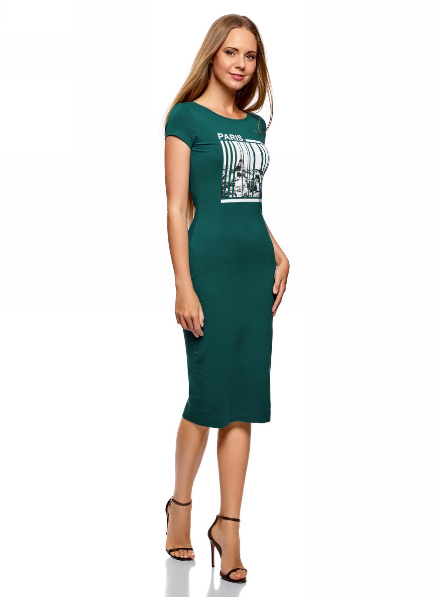 Платье oodji Collection, цвет: темно-изумрудный. 24001104-7/47420/6E55P. Размер L (48)24001104-7/47420/6E55PТрикотажное платье от oodji с глубоким вырезом на спине выполнено из эластичного хлопка. Модель облегающего кроя с короткими рукавами и круглым вырезом горловины на груди оформлена принтом.