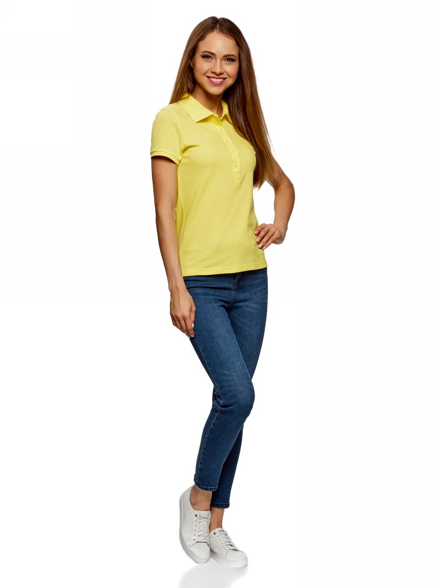 Поло женское oodji Ultra, цвет: лимонный, 2 шт. 19301001T2/46161/5100N. Размер S (44)19301001T2/46161/5100NЖенское поло от oodji выполнено из ткани пике. Модель с короткими рукавами и отложным воротником на груди застегивается на пуговицы. В комплект входят две футболки-поло.