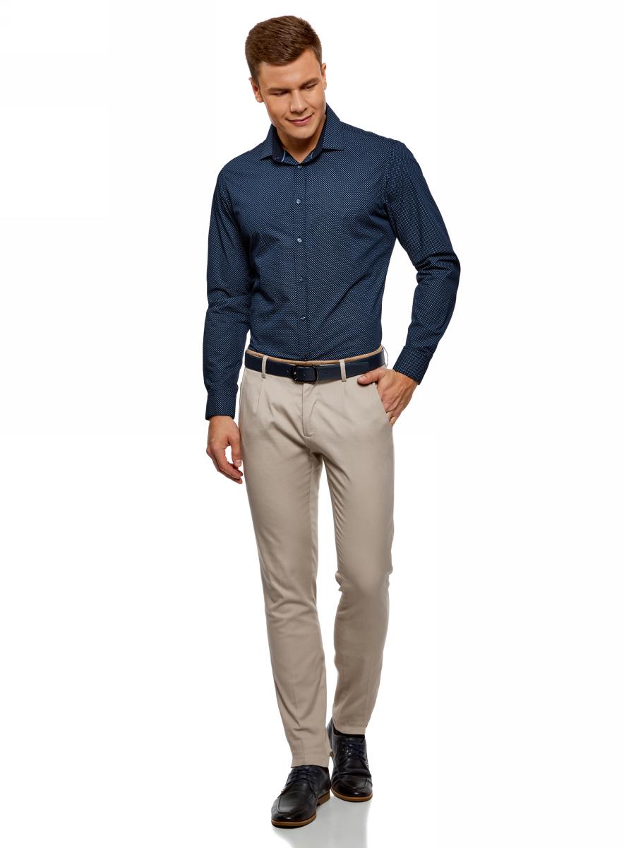 Рубашка мужская oodji Lab, цвет: темно-синий, синий. 3L110269M/44425N/7975G. Размер 39-182 (46-182)3L110269M/44425N/7975GМужская рубашка от oodji выполнена из натурального хлопка. Модель с длинными рукавами и отложным воротником застегивается на пуговицы.