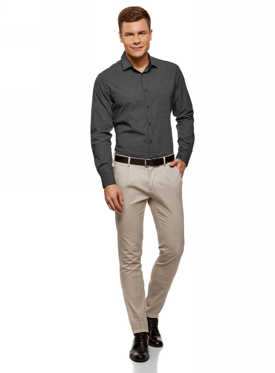 Рубашка мужская oodji Lab, цвет: черный, серый. 3L110269M/44425N/2923G. Размер 39-182 (46-182)3L110269M/44425N/2923GМужская рубашка от oodji выполнена из натурального хлопка. Модель с длинными рукавами и отложным воротником застегивается на пуговицы.