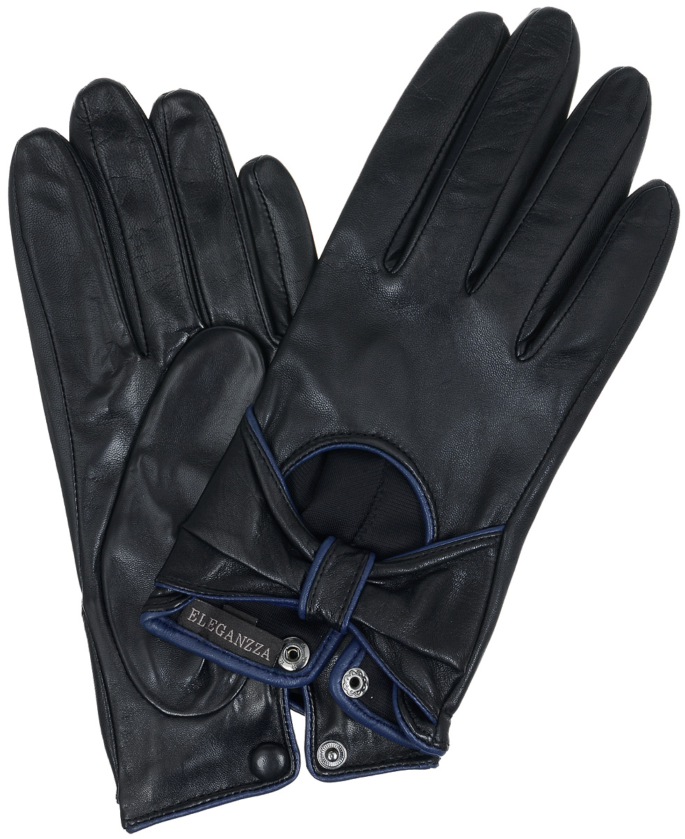 Перчатки женские Eleganzza, цвет: черныйтемно-синий. IS525. Размер 7,5