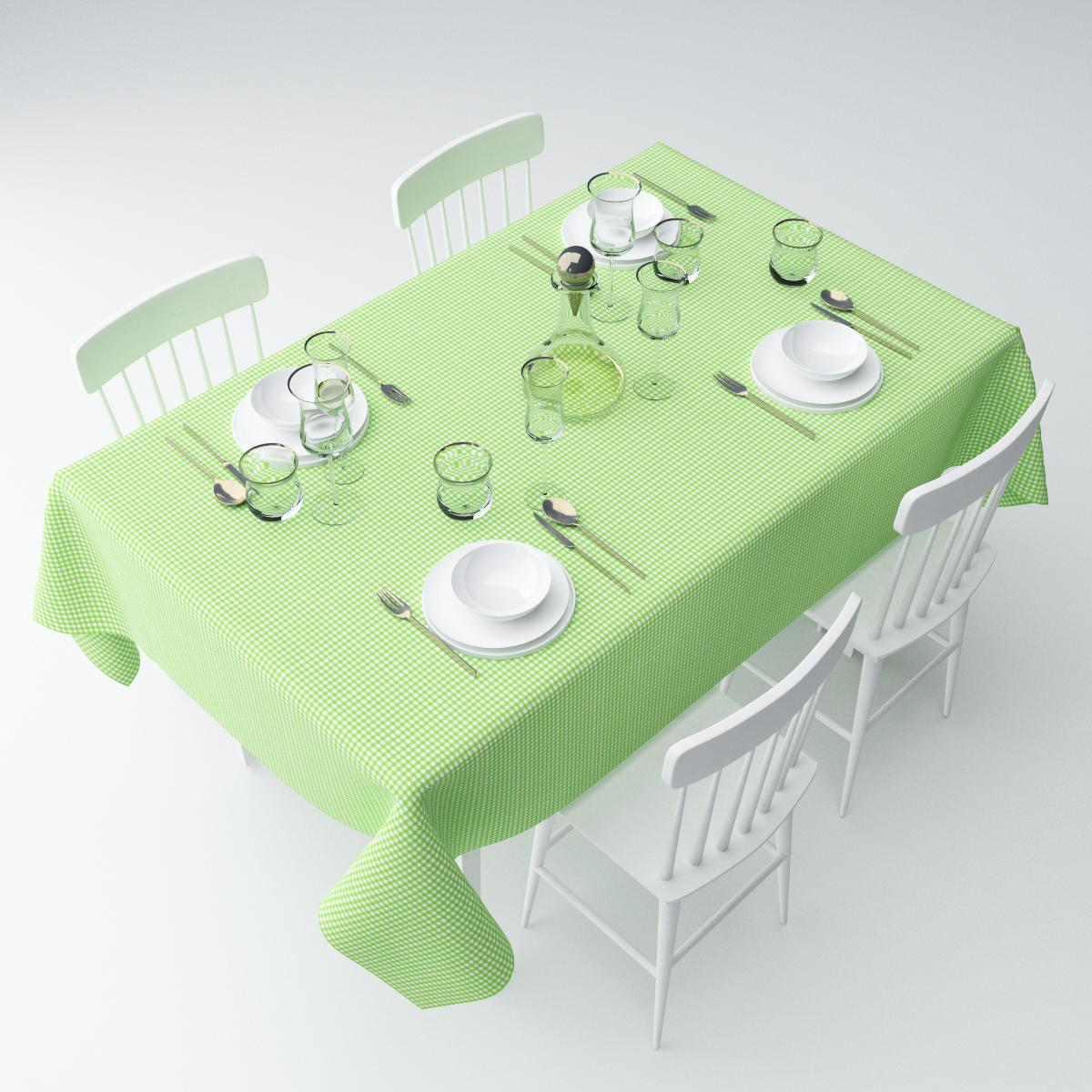 """Прямоугольная скатерть Сирень """"Зеленая клетка"""", выполненная из  габардина с ярким рисунком, преобразит вашу кухню, визуально  расширит пространство, создаст атмосферу радости и комфорта.    Рекомендации по уходу: стирка при 30 градусах, гладить при температуре до 110  градусов.   Размер скатерти: 145 х 120 см.  Изображение может немного отличаться от реального."""