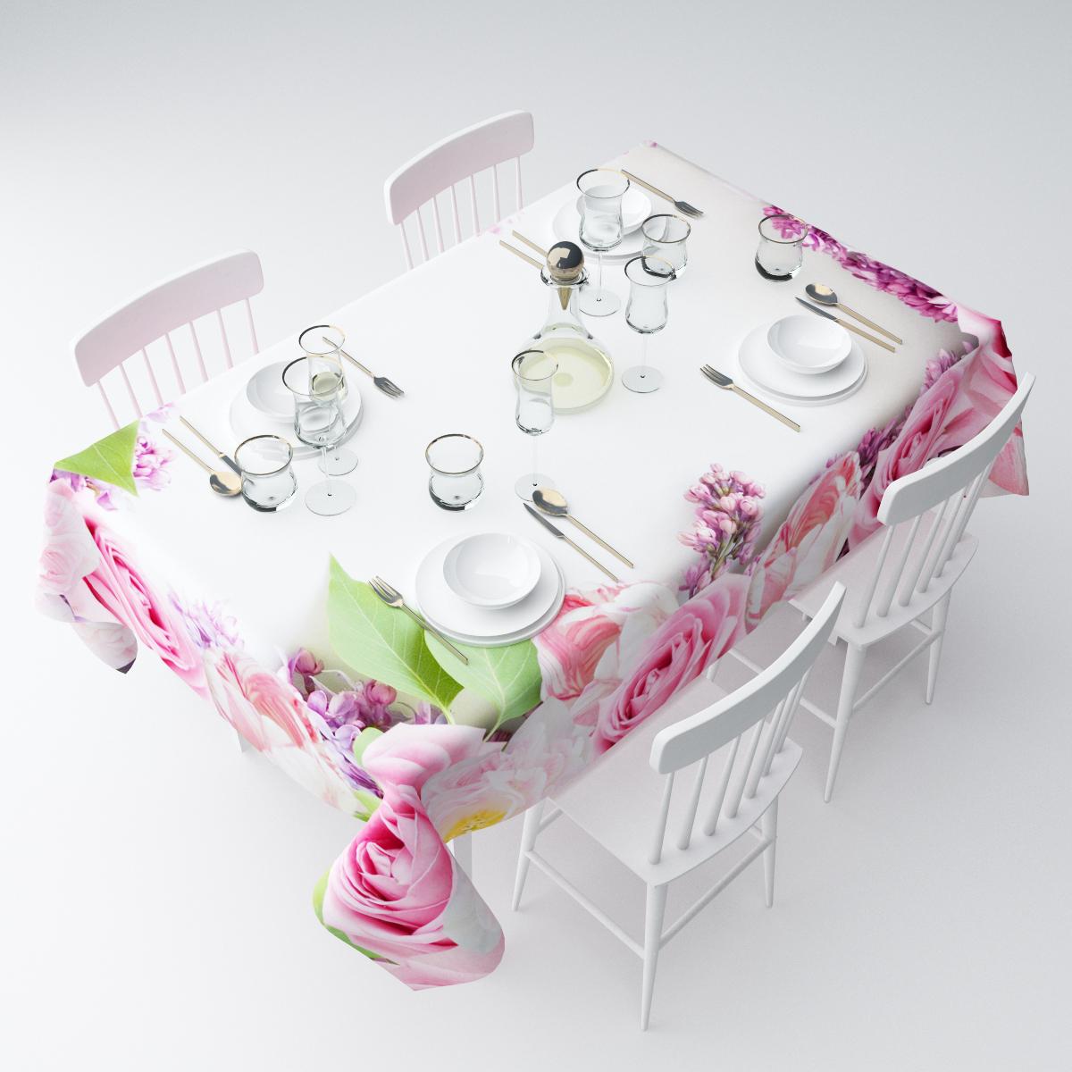 Скатерть Сирень Розовые цветы, прямоугольная, 145 х 120 смСКГБ003-04514Прямоугольная скатерть Сирень Розовые цветы, выполненная из габардина с ярким рисунком, преобразит вашу кухню, визуально расширит пространство, создаст атмосферу радости и комфорта. Рекомендации по уходу: стирка при 30 градусах, гладить при температуре до 110 градусов.Размер скатерти: 145 х 120 см. Изображение может немного отличаться от реального.