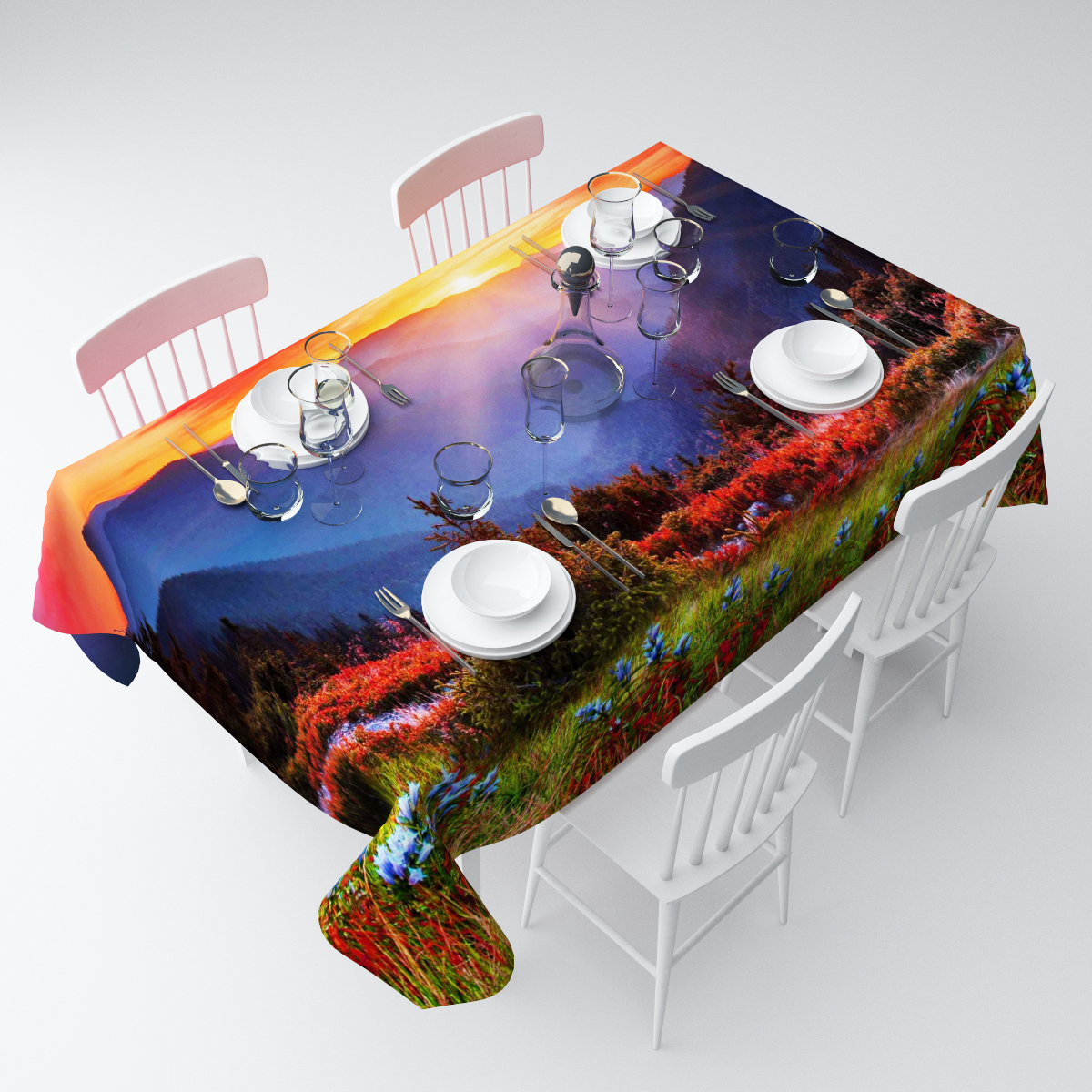 Скатерть Сирень Восход в горах, прямоугольная, 145 х 120 смСКГБ003-04560Прямоугольная скатерть Сирень Восход в горах, выполненная изгабардина с ярким рисунком, преобразит вашу кухню, визуальнорасширит пространство, создаст атмосферу радости и комфорта.Рекомендации по уходу: стирка при 30 градусах, гладить при температуре до 110градусов. Размер скатерти: 145 х 120 см.Изображение может немного отличаться от реального.