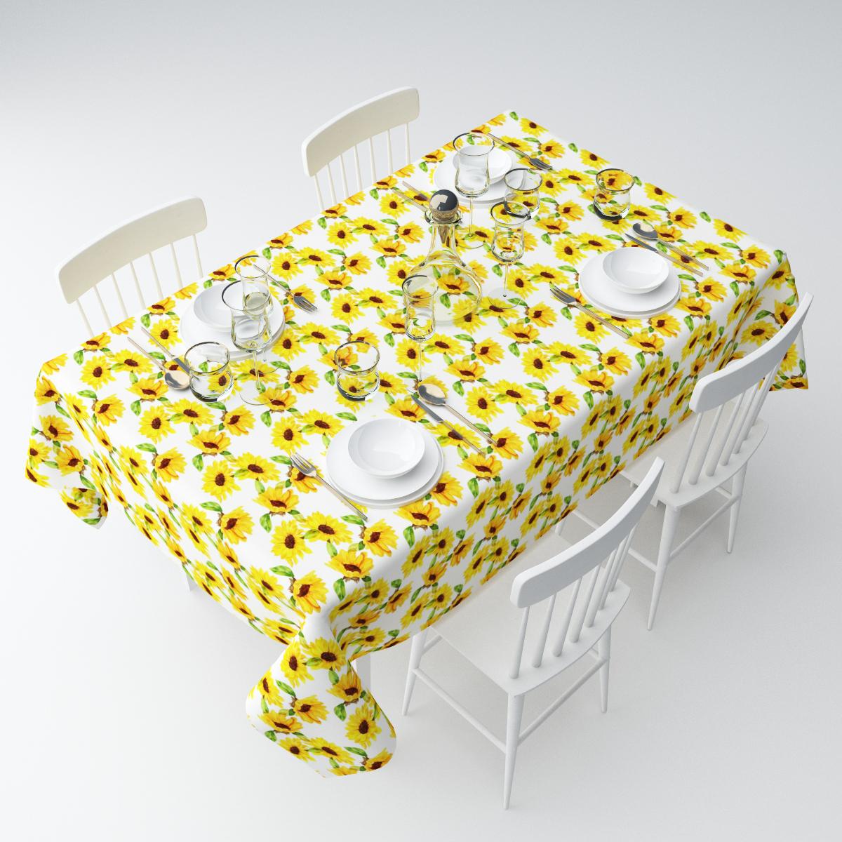 Скатерть Сирень Желтые подсолнухи, прямоугольная, 145 х 120 см. СКГБ003-07054СКГБ003-07054Прямоугольная скатерть Сирень Желтые подсолнухи, выполненная из габардина с ярким рисунком, преобразит вашу кухню, визуально расширит пространство, создаст атмосферу радости и комфорта. Рекомендации по уходу: стирка при 30 градусах, гладить при температуре до 110 градусов.Размер скатерти: 145 х 120 см. Изображение может немного отличаться от реального.