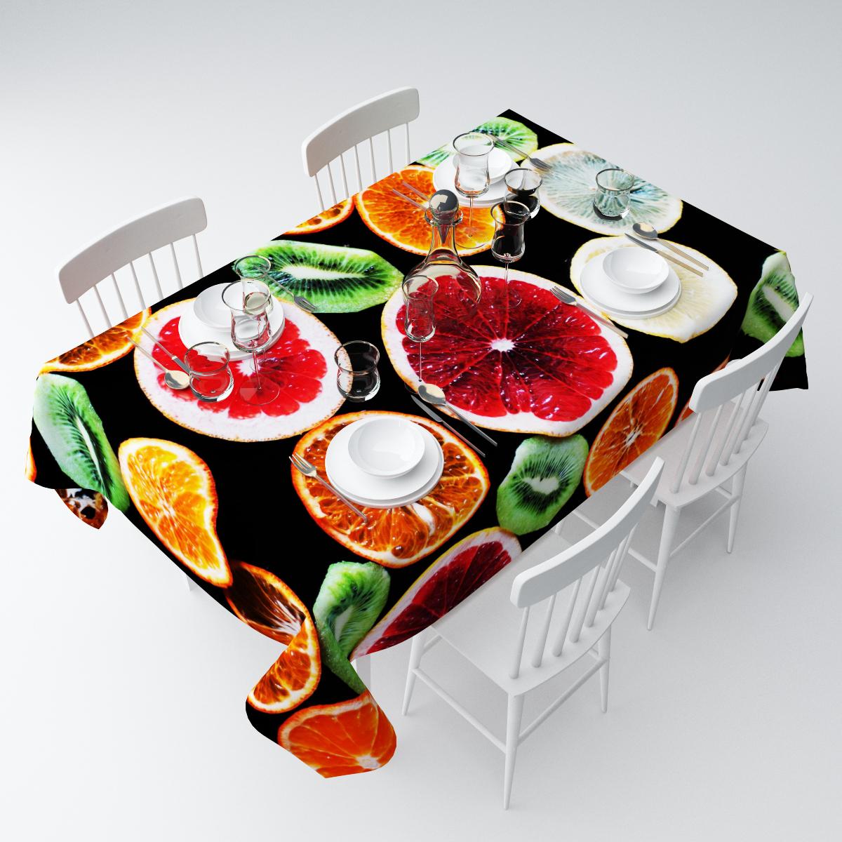 """Прямоугольная скатерть Сирень """"Витамины"""", выполненная из  габардина с ярким рисунком, преобразит вашу кухню, визуально  расширит пространство, создаст атмосферу радости и комфорта.    Рекомендации по уходу: стирка при 30 градусах, гладить при температуре до 110  градусов.   Размер скатерти: 145 х 120 см.  Изображение может немного отличаться от реального."""