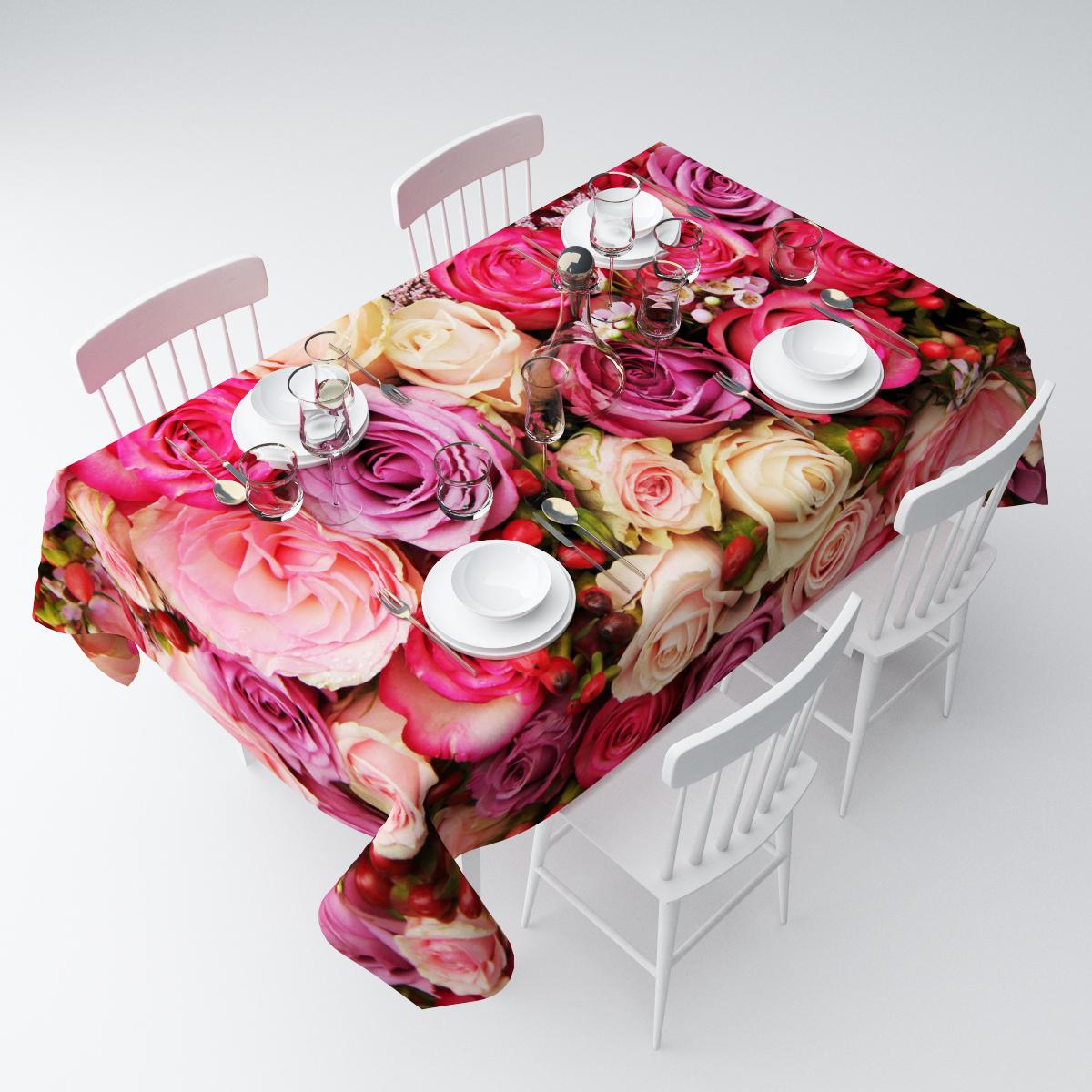 """Прямоугольная скатерть Сирень """"Восхитительный букет роз"""", выполненная из  габардина с ярким рисунком, преобразит вашу кухню, визуально  расширит пространство, создаст атмосферу радости и комфорта.    Рекомендации по уходу: стирка при 30 градусах, гладить при температуре до 110  градусов.   Размер скатерти: 145 х 120 см.  Изображение может немного отличаться от реального."""