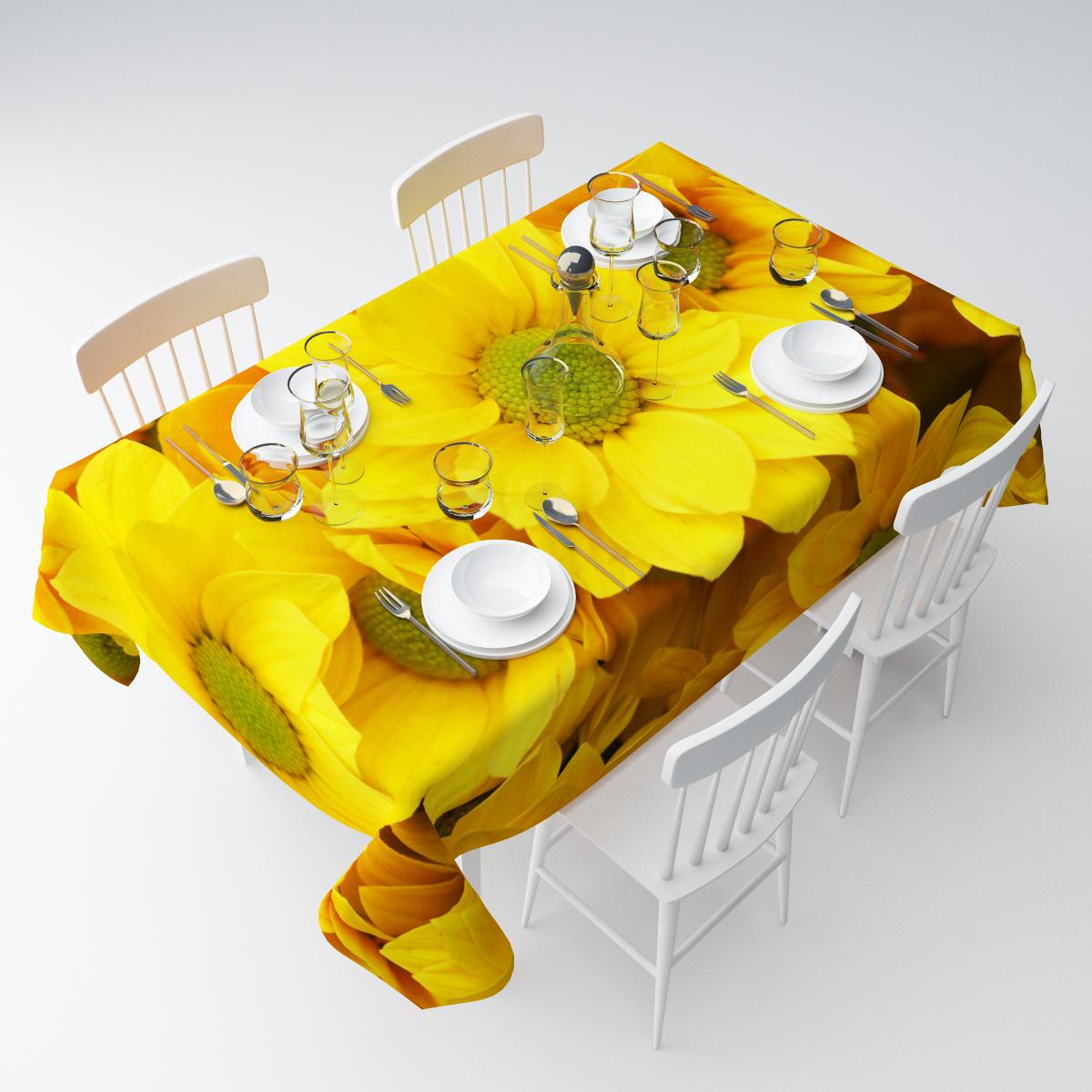 Скатерть Сирень Желтые хризантемы, прямоугольная, 145 х 120 смСКГБ003-07517Прямоугольная скатерть Сирень Желтые хризантемы, выполненная изгабардина с ярким рисунком, преобразит вашу кухню, визуальнорасширит пространство, создаст атмосферу радости и комфорта.Рекомендации по уходу: стирка при 30 градусах, гладить при температуре до 110градусов. Размер скатерти: 145 х 120 см.Изображение может немного отличаться от реального.