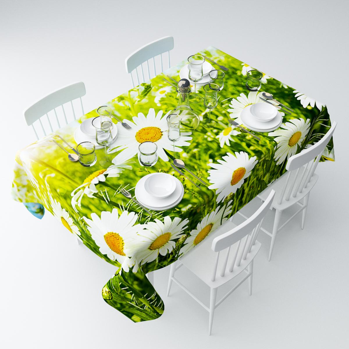 Скатерть Сирень Ромашки в зелени, прямоугольная, 145 х 120 смСКГБ003-08385Прямоугольная скатерть Сирень Ромашки в зелени, выполненная из габардина с ярким рисунком, преобразит вашу кухню, визуально расширит пространство, создаст атмосферу радости и комфорта. Рекомендации по уходу: стирка при 30 градусах, гладить при температуре до 110 градусов.Размер скатерти: 145 х 120 см. Изображение может немного отличаться от реального.