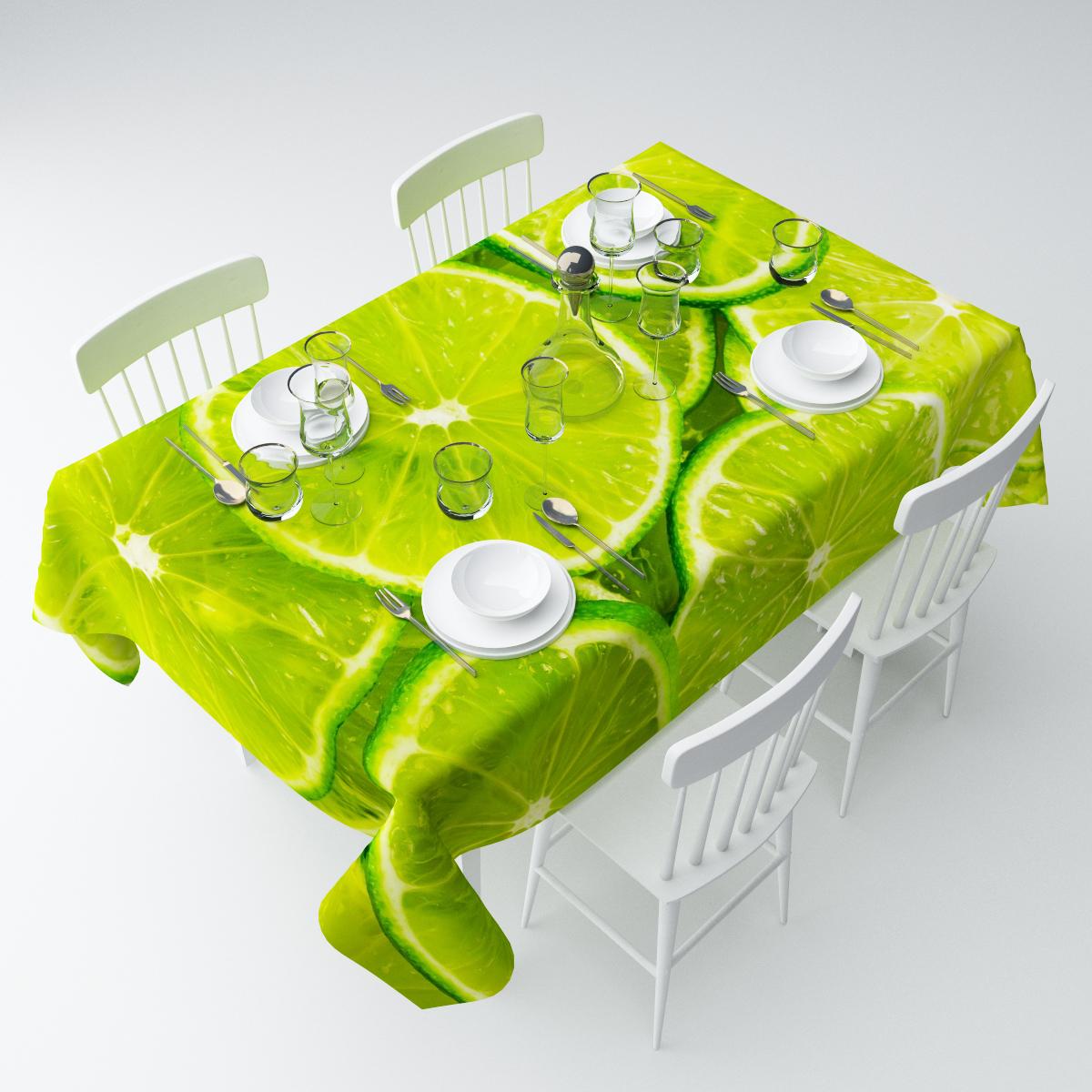 """Прямоугольная скатерть Сирень """"Лайм"""", выполненная из  габардина с ярким рисунком, преобразит вашу кухню, визуально  расширит пространство, создаст атмосферу радости и комфорта.    Рекомендации по уходу: стирка при 30 градусах, гладить при температуре до 110  градусов.   Размер скатерти: 145 х 220 см.  Изображение может немного отличаться от реального."""