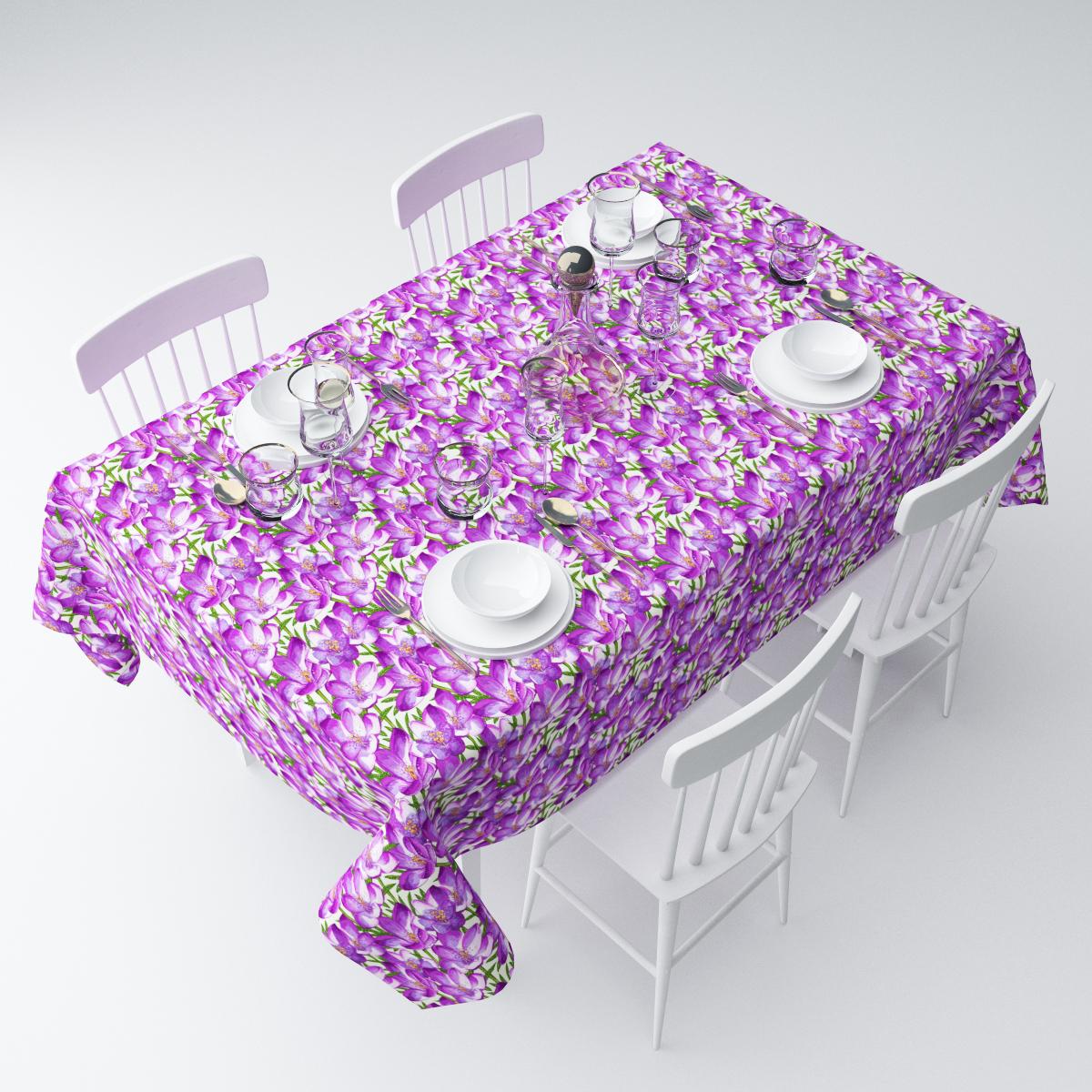 Скатерть Сирень Фиолетовый шафран, прямоугольная, 145 х 220 смСКГБ004-01802Прямоугольная скатерть Сирень Фиолетовый шафран, выполненная изгабардина с ярким рисунком, преобразит вашу кухню, визуальнорасширит пространство, создаст атмосферу радости и комфорта.Рекомендации по уходу: стирка при 30 градусах, гладить при температуре до 110градусов. Размер скатерти: 145 х 220 см.Изображение может немного отличаться от реального.