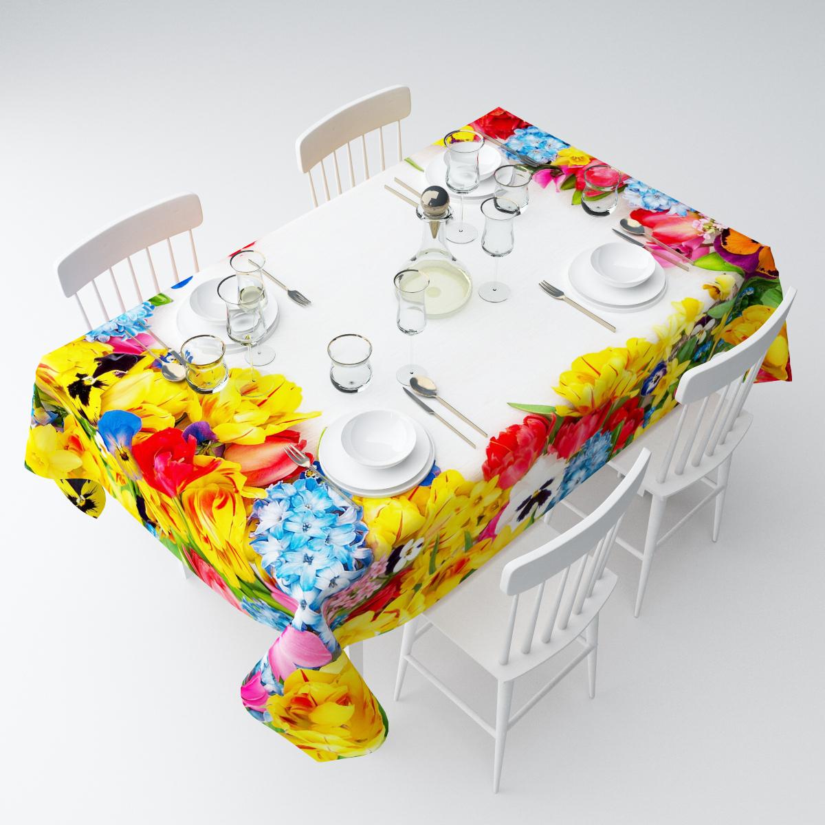 """Прямоугольная скатерть Сирень """"Яркие бутоны цветов"""", выполненная из  габардина с ярким рисунком, преобразит вашу кухню, визуально  расширит пространство, создаст атмосферу радости и комфорта.    Рекомендации по уходу: стирка при 30 градусах, гладить при температуре до 110  градусов.   Размер скатерти: 145 х 220 см.  Изображение может немного отличаться от реального."""