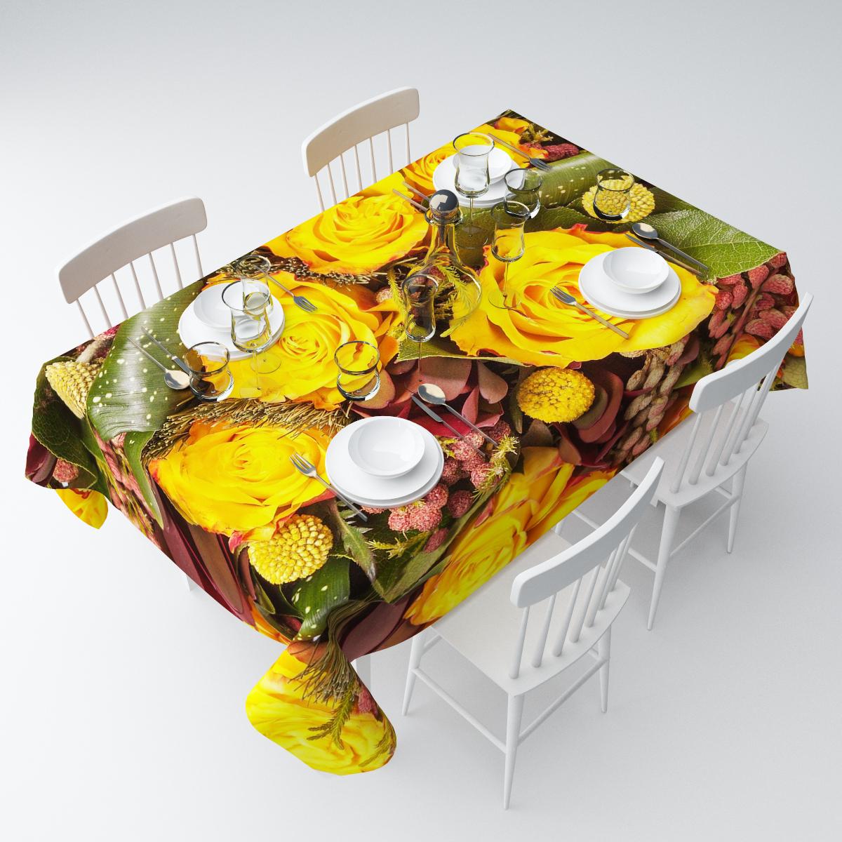 Скатерть Сирень Желтые розы с личи, прямоугольная, 145 х 220 смСКГБ004-04423Прямоугольная скатерть Сирень Желтые розы с личи, выполненная из габардина с ярким рисунком, преобразит вашу кухню, визуально расширит пространство, создаст атмосферу радости и комфорта. Рекомендации по уходу: стирка при 30 градусах, гладить при температуре до 110 градусов.Размер скатерти: 145 х 220 см. Изображение может немного отличаться от реального.