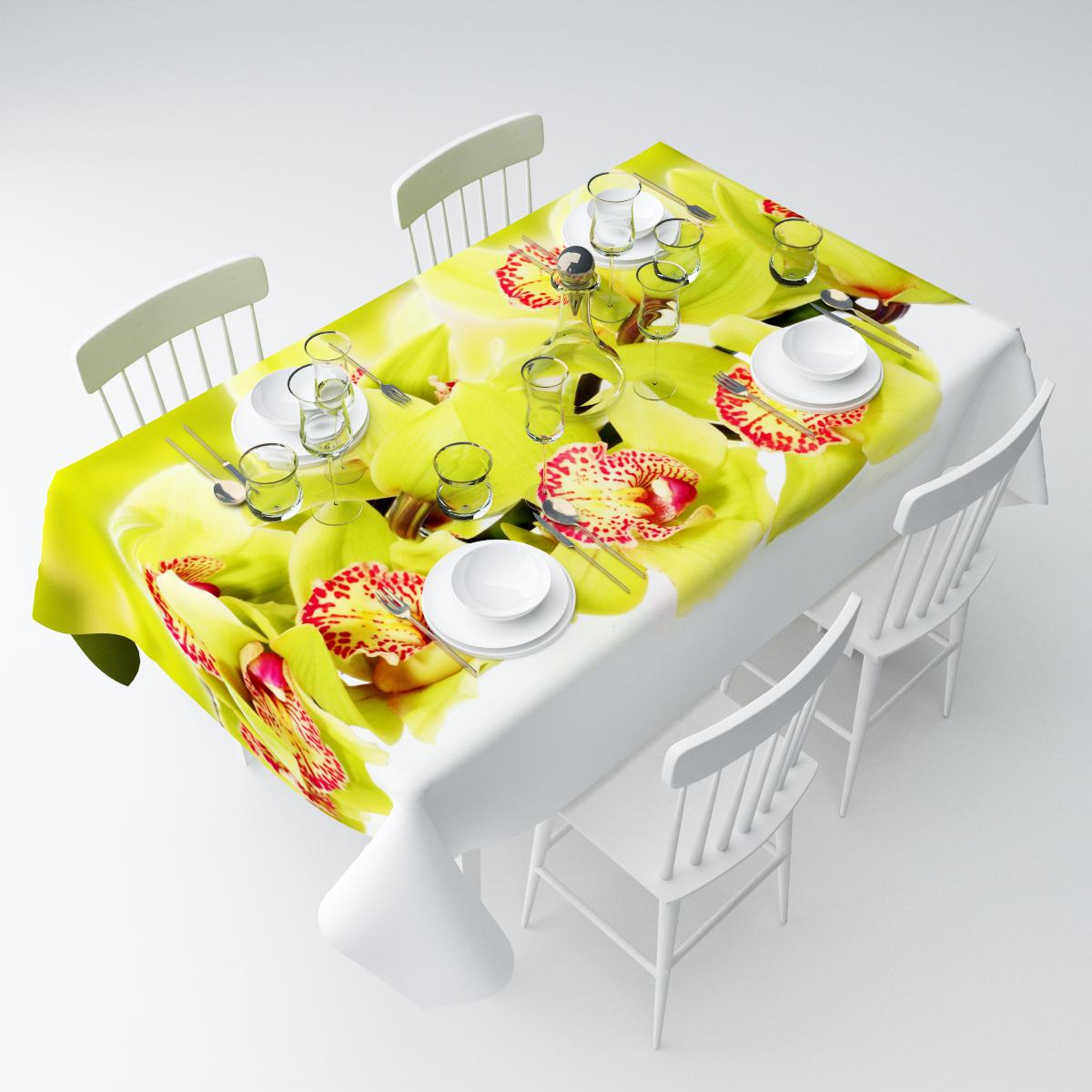 Скатерть Сирень Ветки зеленой орхидеи, прямоугольная, 145 х 220 смСКГБ004-04612Прямоугольная скатерть Сирень Ветки зеленой орхидеи, выполненная из габардина с ярким рисунком, преобразит вашу кухню, визуально расширит пространство, создаст атмосферу радости и комфорта. Рекомендации по уходу: стирка при 30 градусах, гладить при температуре до 110 градусов.Размер скатерти: 145 х 220 см. Изображение может немного отличаться от реального.