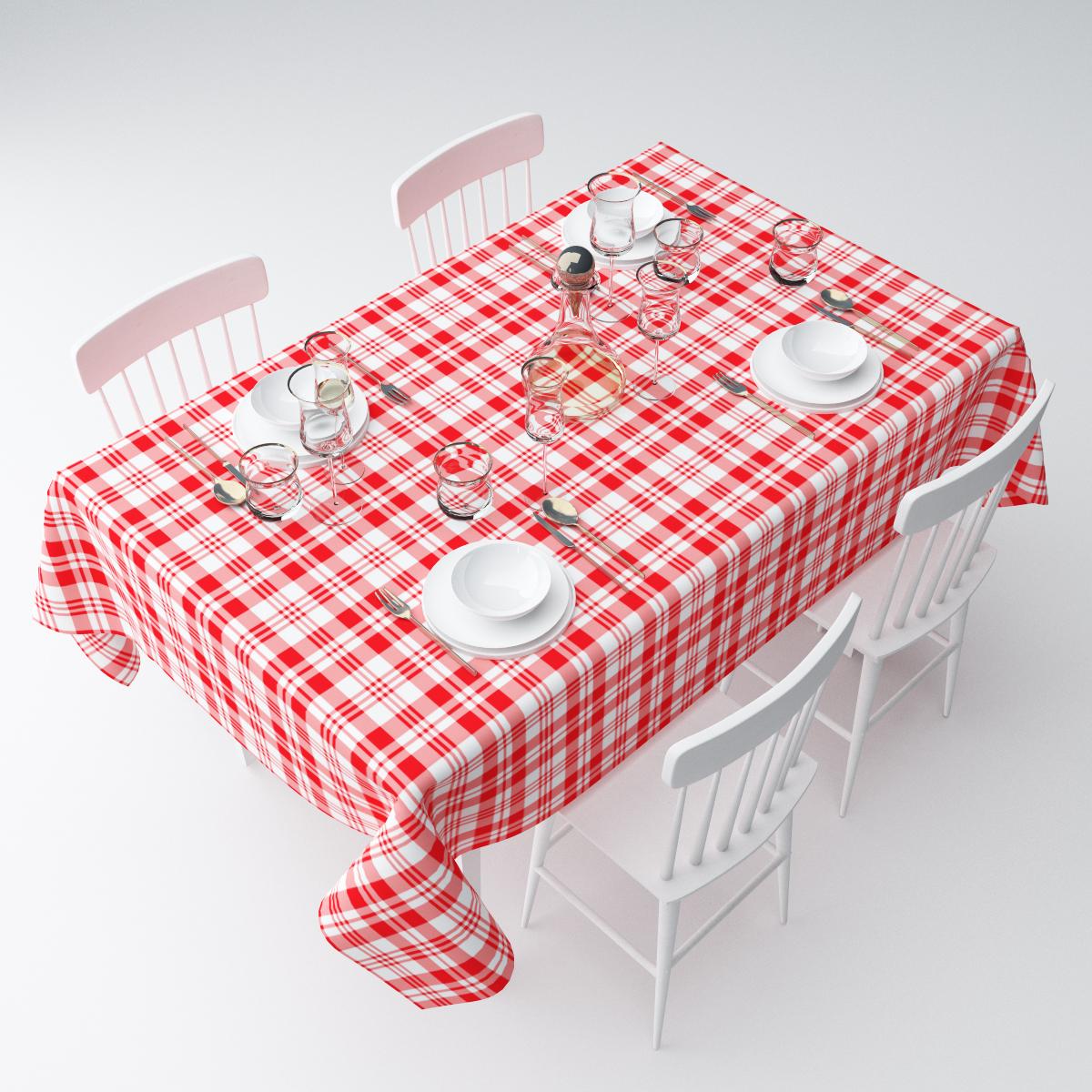 """Прямоугольная скатерть Сирень """"Красная клетка"""", выполненная из  габардина с ярким рисунком, преобразит вашу кухню, визуально  расширит пространство, создаст атмосферу радости и комфорта.    Рекомендации по уходу: стирка при 30 градусах, гладить при температуре до 110  градусов.   Размер скатерти: 145 х 220 см.  Изображение может немного отличаться от реального."""