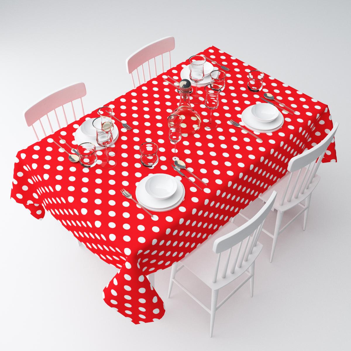 """Прямоугольная скатерть Сирень """"Красный в горошек"""", выполненная из  габардина с ярким рисунком, преобразит вашу кухню, визуально  расширит пространство, создаст атмосферу радости и комфорта.    Рекомендации по уходу: стирка при 30 градусах, гладить при температуре до 110  градусов.   Размер скатерти: 145 х 220 см.  Изображение может немного отличаться от реального."""