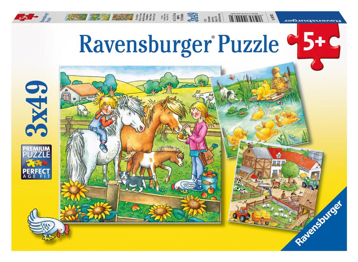 Ravensburger Пазл для малышей Животные на ферме 3 в 1 ravensburger историческая карта пазл 5000 элементов