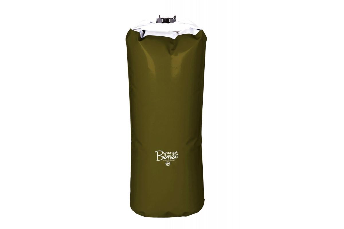 Гермомешок Вольный ветер, цвет: зеленый, 100 л21005Гермомешок объемом 100 л изготовлен из качественных синтетических тканей с двухсторонним покрытием ПВХ. Все швы проварены. Вдоль клапана пришита пластиковая лента, что обеспечивает более плотную скрутку и фиксацию клапана. Высота полная: 120 см. Высота рабочая (без скрутки): 100 см.Ширина дна: 42 см.