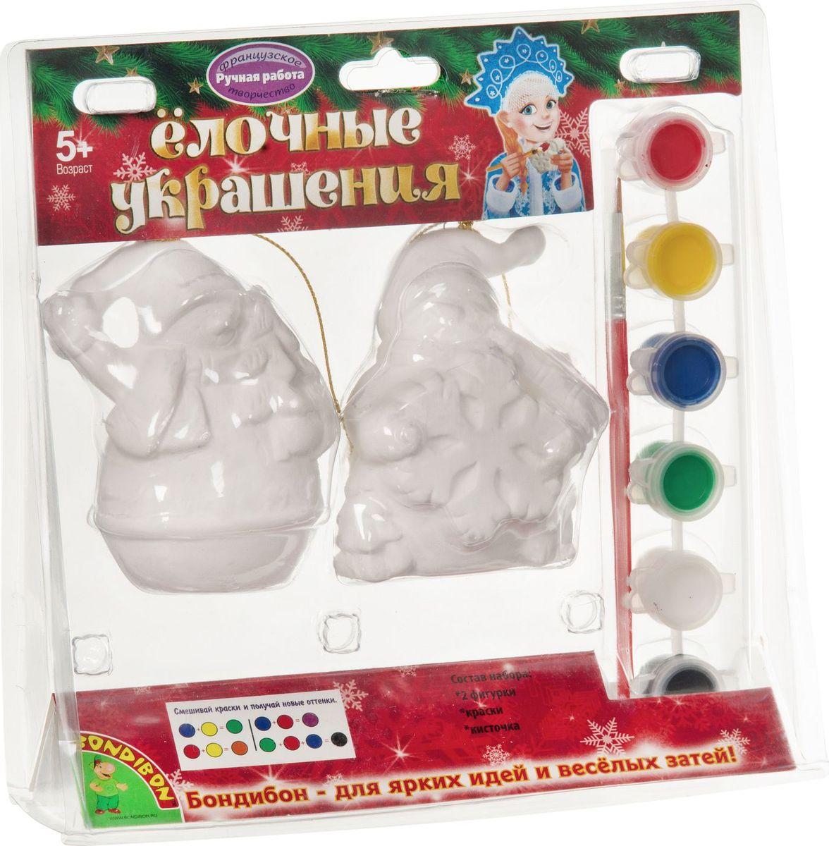 Bondibon Набор для изготовления игрушек Ёлочные украшения Снеговички 2 шт divage divage набор подарочный набор 60 тушь для ресниц 90х60х90 6101 блеск vinyl gloss 3220