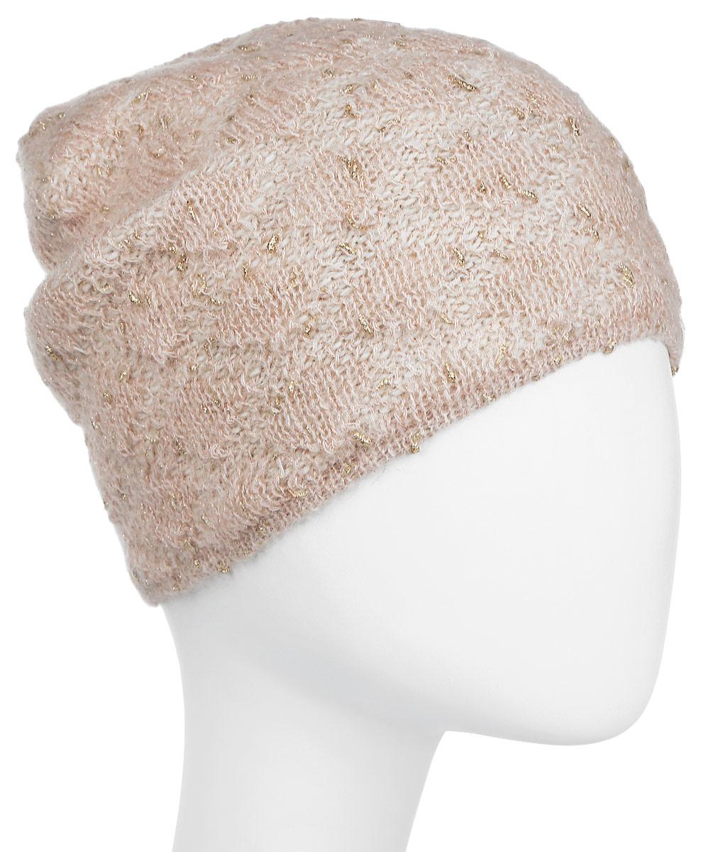 Шапка женская Dispacci, цвет: розовая пудра. 21235LU. Размер 56/58