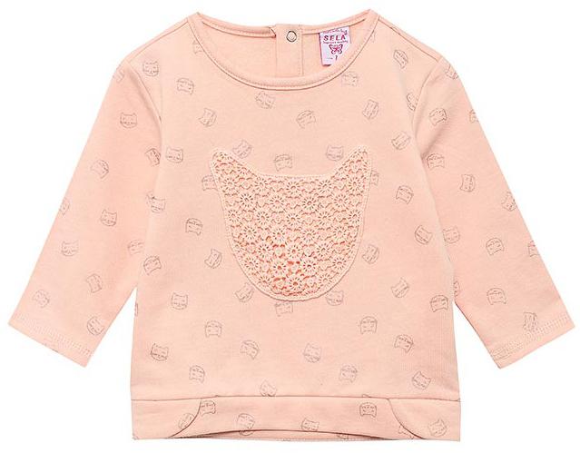 Свитшот для девочки Sela, цвет: бледно-розовый. St-513/365-7331. Размер 92, 2 годаSt-513/365-7331Свитшот для девочки от Sela выполнен из хлопкового трикотажа. Модель с круглым вырезом горловины и длинными рукавами на спинке застегивается на кнопки.
