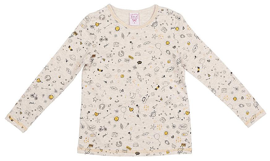 Джемпер для девочки Sela, цвет: морская пена меланж. T-511/434-7331. Размер 116, 6 летT-511/434-7331