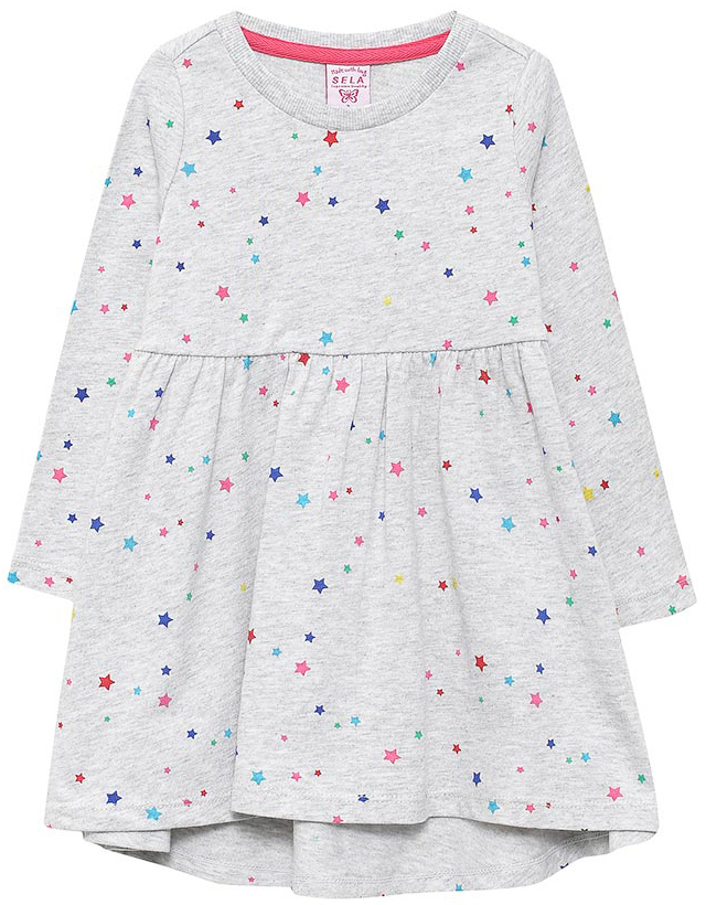 Платье для девочки Sela, цвет: светло-серый меланж. DK-517/405-7331. Размер 116, 6 летDK-517/405-7331Платье для девочки от Sela выполнено из натурального хлопка. Модель с длинными рукавами и круглым вырезом горловины дополнена отрезной юбкой.