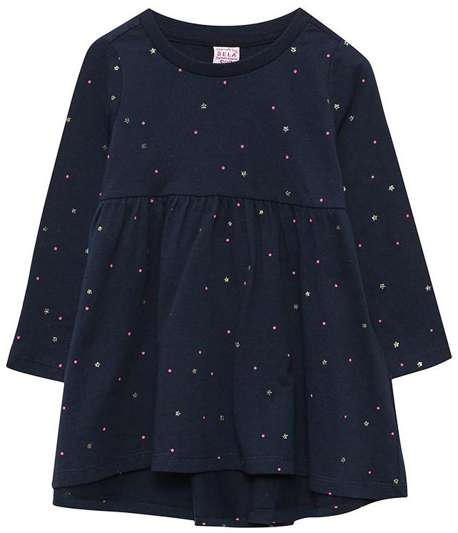 Платье для девочки Sela, цвет: темно-синий. DK-517/405-7331. Размер 110, 5 летDK-517/405-7331
