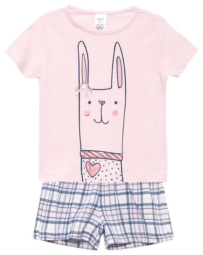Пижама для девочки Sela, цвет: нежный розовый. PYb-5662/337-7311. Размер 116/122, 6-8 летPYb-5662/337-7311Пижама для девочки от Sela, состоящая из футболки и шорт, выполнена из натурального хлопка. Футболка с короткими рукавами и круглым вырезом горловины. Шорты на талии дополнены эластичной резинкой и затягивающимся шнурком.
