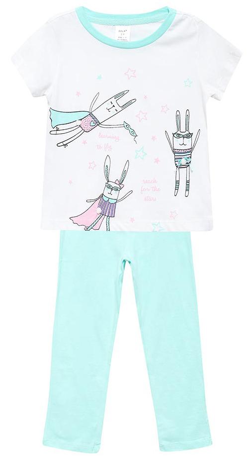 Пижама для девочки Sela, цвет: белый, светло-ментоловый. PYb-5662/338-7311. Размер 104/110, 4-6 летPYb-5662/338-7311Пижама для девочки от Sela, состоящая из футболки и брюк, выполнена из натурального хлопка. Футболка с короткими рукавами и круглым вырезом горловины. Брюки на талии дополнены эластичной резинкой.