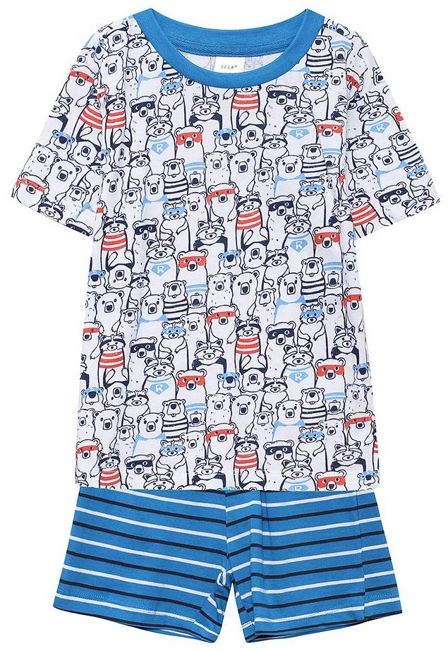 Пижама для мальчика Sela, цвет: белый, синий. PYb-7862/016-7311. Размер 92/98, 2-4 годаPYb-7862/016-7311Пижама для мальчика от Sela, состоящая из футболки и шорт, выполнена из натурального хлопка. Футболка с короткими рукавами и круглым вырезом горловины. Шорты на талии дополнены эластичной резинкой и затягивающимся шнурком.