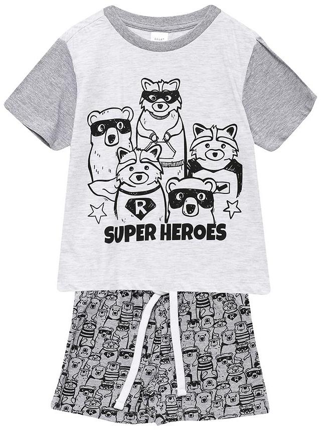 Пижама для мальчика Sela, цвет: серый меланж. PYb-7862/016-7311. Размер 104/110, 4-6 летPYb-7862/016-7311Пижама для мальчика от Sela, состоящая из футболки и шорт, выполнена из натурального хлопка. Футболка с короткими рукавами и круглым вырезом горловины. Шорты на талии дополнены эластичной резинкой и затягивающимся шнурком.