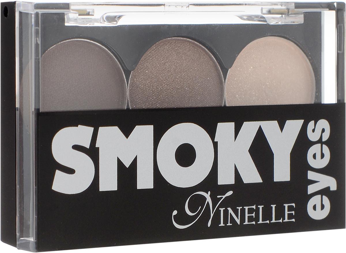 Ninelle Тени для век Smoky eyes, 3 цвета, тон №23, 3х0,8 г646N10365Тени для век Ninelle Smoky eyes представляют собой коктейль из 3-х великолепно сочетающихся оттенков, которые подчеркивают загадочную глубину взгляда. Тени для век Ninelle  Smoky eyes  обладают шелковистой текстурой из микронизированных пигментов, обеспечивающей нежное нанесение на веко и создание мягких переходов между тонами. Благодаря сочетанию особой текстуры теней и четырех гармоничных оттенков можно добиться исключительно эффектной игры тени и света, тем самым подчеркнув глубину чувственного взгляда. Каждая комбинация теней состоит из матовых и атласных (сатиновых) текстур с разным содержанием перламутровых пигментов (от легких переливающихся перламутровых, до абсолютно матовых), которые идеально подходят для всех возрастов и типов кожи (в том числе и для зрелой). Такое сочетание текстур делает каждую комбинацию универсальной. Шикарные палитры теней позволяют легко создавать яркий и выразительный макияж, придавая глазам необычайную выразительность и красоту. Товар сертифицирован.