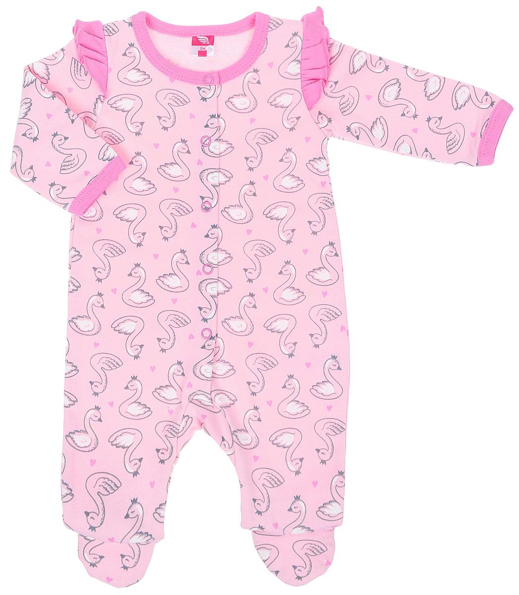 Комбинезон для девочки Cherubino, цвет: светло-розовый. CWN 9674 (156). Размер 80CWN 9674 (156)Комбинезон для девочки выполнен из набивного трикотажа с начесом. Модель спереди застегивается на кнопки. Верх рукава декорирован рюшкой.
