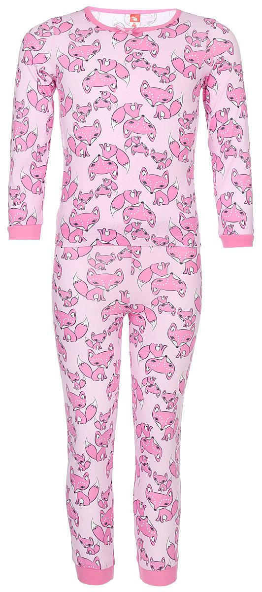 Пижама для девочки Cherubino Лисички, цвет: светло-розовый, лисички. CAK 5306. Размер 110