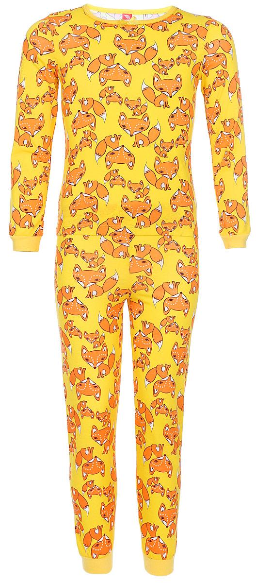 Пижама для девочки Cherubino, цвет: желтый, лисички. CAK 5306. Размер 110CAK 5306Пижама для девочки выполнен из тонкого набивного хлопкового трикотажа. Состоит из фуьболки с длинным рукавом и брюк. По рукавам и низу брючин манжеты.