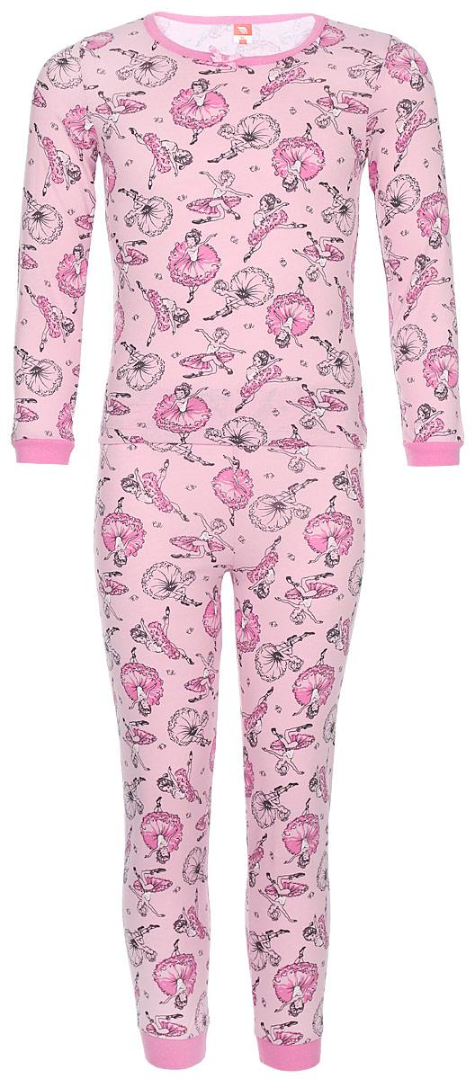 Пижама для девочки Cherubino Балерина, цвет: светло-розовый, балерины. CAK 5306. Размер 104CAK 5306Пижама для девочки выполнен из тонкого набивного хлопкового трикотажа. Состоит из фуьболки с длинным рукавом и брюк. По рукавам и низу брючин манжеты.