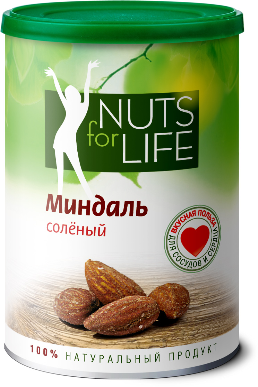Nuts for Life Миндаль обжаренный соленый, 200 гU920173Миндаль — это королевский орех! В сочетании с натуральной розовой морской солью его вкус стал еще богаче, насыщеннее и приятнее. Морская соль с бета-каротином поможет восполнить баланс минеральных веществ и микроэлементов в вашем организме, а миндаль с большим содержанием витамина Е поможет укрепить сердце, сосуды и зрение!