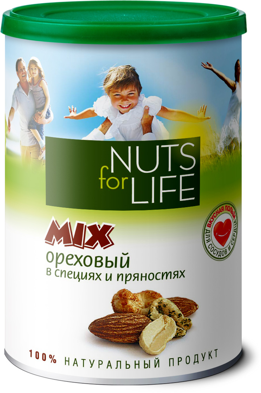 Nuts for Life Микс ореховый в специях и пряностях, 200 гU920821Ядра высококачественного обжаренного миндаля, ароматный кешью с натуральным испанским томатом, арахис с чесноком и пряностями в сочетании с розовой морской солью зарядят вас необходимой энергией и повысят жизненный тонус.
