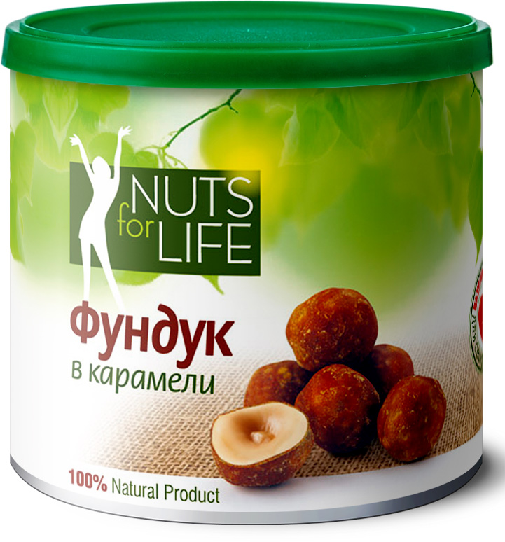 Nuts for Life Фундук в карамели, 115 гU921101Очищенный фундук Nuts for Life проходит щадящую обжарку и покрывается тончайшим слоем карамели. Хрустящий, ароматный, а теперь и сладкий фундук не оставит равнодушными ни детей ни взрослых!