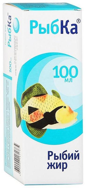Рыбий жир РыбКа флакон 100 мл213628Рыбий жир РыбКа - дополнительный источник полиненасыщенных жирных кислот омега 3 и витамина Е, который укрепляет иммунитет и помогает детскому организму противостоять вредным воздействиям окружающей среды. Форма выпуска – капсулы, что дает возможность сохранять все свойства ПНЖК в неизменном виде и обеспечивает удобство применения. Сфера применения: ВитаминологияОмега