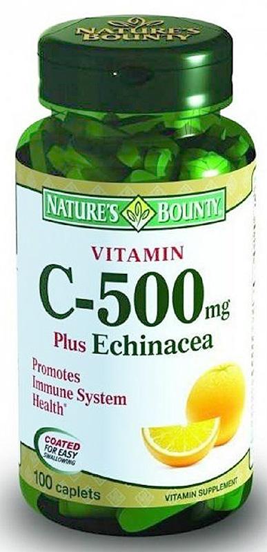 Витамин С Nature's Bounty, с эхинацеей, таблетки 500 мг, №100 солгар витамин с 500мг с малиновым вкусом 90 таблетки