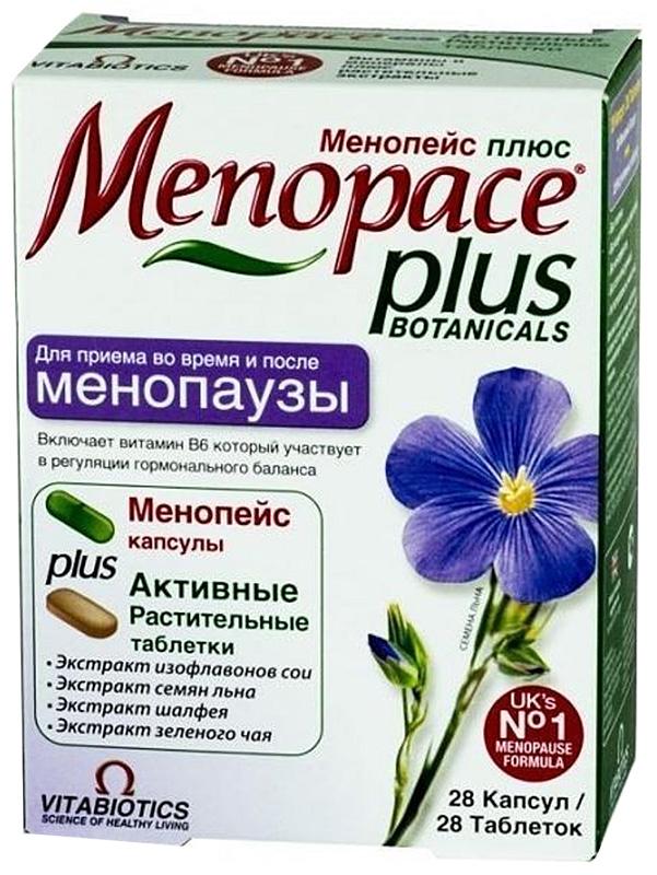 Менопейс Плюс капсулы 577 мг №28 + таблетки 940 мг №28215732Менопейс Плюс специально разработан для женщин, для экстра поддержки во время менопаузы. Менопейс Плюс - уникальная формула, сочетающая капсулы Менопейс и Активные Растительные таблетки. Каждая растительная таблетка содержит 100 мг Изофлавонов Сои, 50 мг Экстракта Шалфея, 50 мг Экстракта Зеленого чая, 50 мг Флаволигнанов из Семян льна. Препарат можно применять одновременно с препаратом Остеокеа для поддержания здоровья костей и профилактики Остеопороза. Сфера применения: ВитаминологияМакро- и микроэлементы